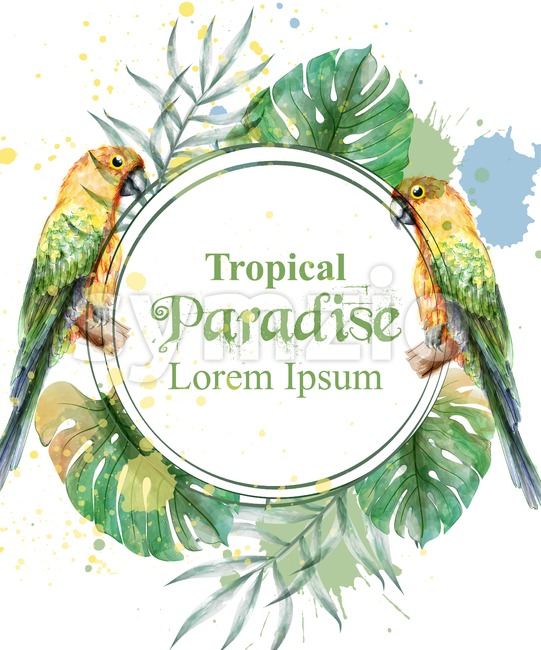 Tropical paradise frame with parrots and palm leaves watercolor Vector illustration Stock Photo