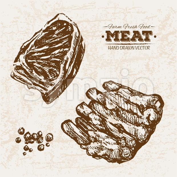Hand drawn sketch meat products set, farm fresh food, black and white vintage illustration