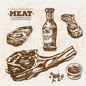 Hand drawn sketch steak meat products set and ketchup, farm fresh food, black and white vintage illustration Stock Vector