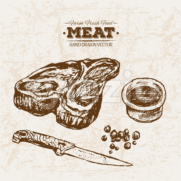 Hand drawn sketch steak meat and sauce, farm fresh food, black and white vintage illustration Stock Vector