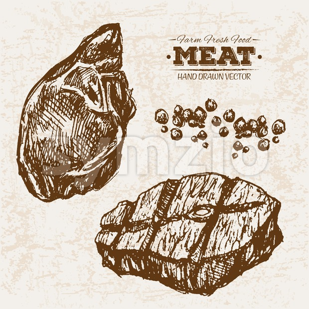 Hand drawn sketch meat beef steak, farm fresh food, black and white vintage illustration