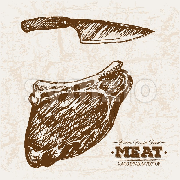 Hand drawn sketch steak meat and knife, farm fresh food, black and white vintage illustration