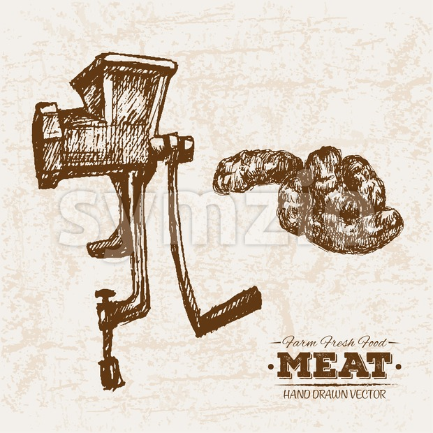 Hand drawn sketch meat and mincing machine, farm fresh food, black and white vintage illustration Stock Vector