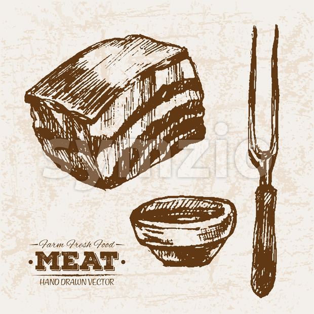 Hand drawn sketch ham meat and sauce, farm fresh food, black and white vintage illustration
