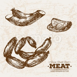 Hand drawn sketch sausages meat products set, farm fresh food, black and white vintage illustration Stock Vector