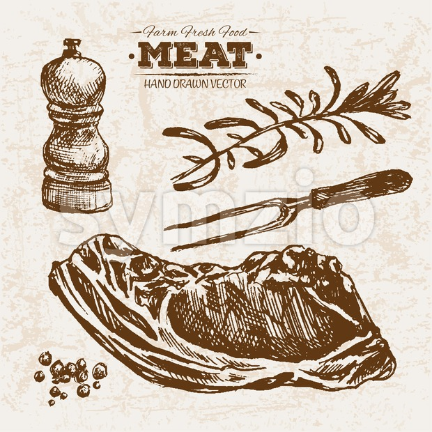 Hand drawn sketch stake meat products set, farm fresh food, black and white vintage illustration Stock Vector