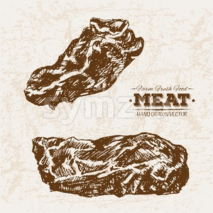 Hand drawn sketch steak meat products set, farm fresh food, black and white vintage illustration Stock Vector