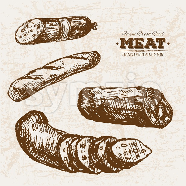 Hand drawn sketch salami and sausages meat products set, farm fresh food, black and white vintage illustration Stock Vector