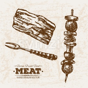 Hand drawn sketch meat products set bbq and skewers, farm fresh food, black and white vintage illustration Stock Vector