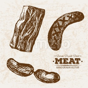 Hand drawn sketch sausages and ham meat products set, farm fresh food, black and white vintage illustration Stock Vector