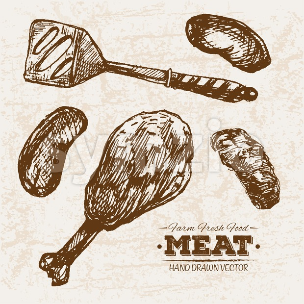 Hand drawn sketch meat sausages and legs products set, farm fresh food, black and white vintage illustration Stock Vector
