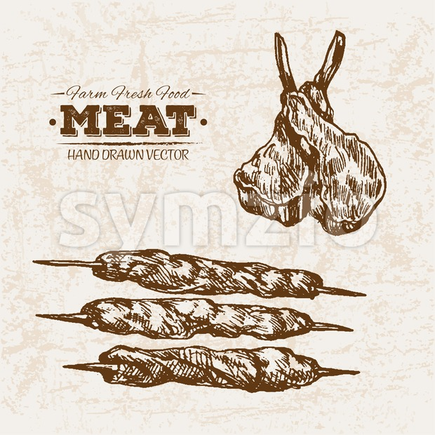 Hand drawn sketch meat products skewers set, farm fresh food, black and white vintage illustration Stock Vector