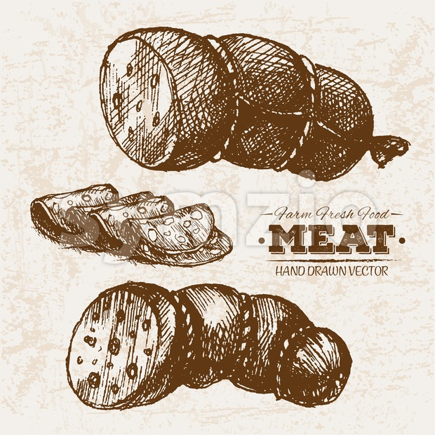 Hand drawn sketch sausages meat products set, farm fresh food, black and white vintage illustration
