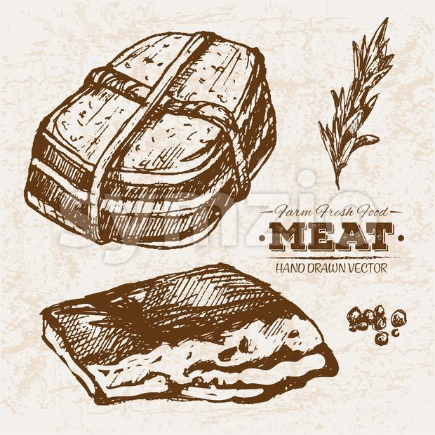 Hand drawn sketch pork ham meat products set, farm fresh food, black and white vintage illustration Stock Vector