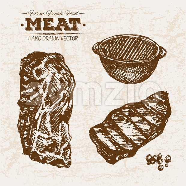 Hand drawn sketch steak meat products set, farm fresh food, black and white vintage illustration