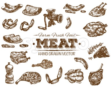 Collection 1 of hand drawn meat sketch, black and white vintage illustration Stock Vector