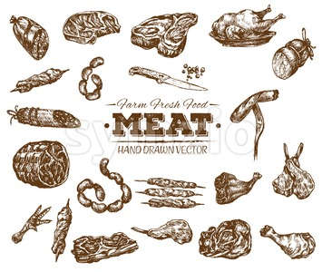 Collection 3 of hand drawn meat sketch, black and white vintage illustration Stock Vector