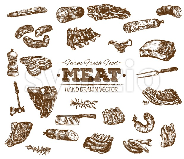 Collection 4 of hand drawn meat sketch, black and white vintage illustration Stock Vector