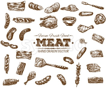Collection 6 of hand drawn meat sketch, black and white vintage illustration Stock Vector