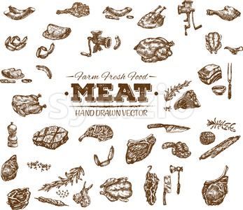 Collection 13 of hand drawn meat sketch, black and white vintage illustration Stock Vector