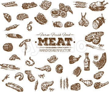 Collection 12 of hand drawn meat sketch, black and white vintage illustration Stock Vector