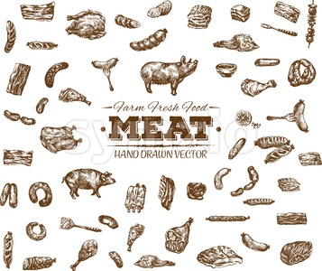 Collection 10 of hand drawn meat sketch, black and white vintage illustration Stock Vector