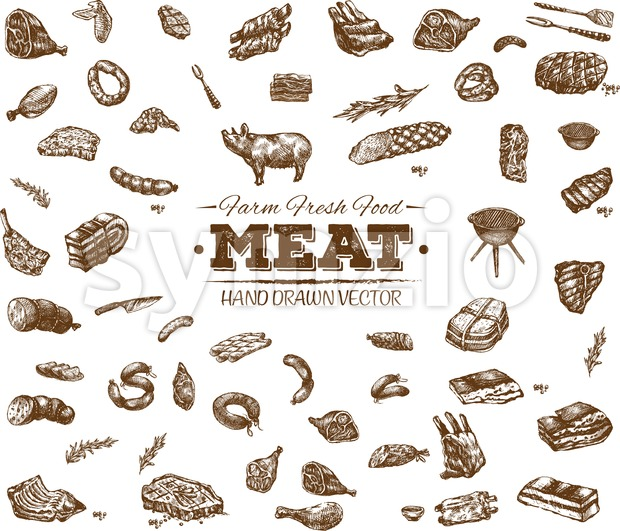 Collection 9 of hand drawn meat sketch, black and white vintage illustration Stock Vector