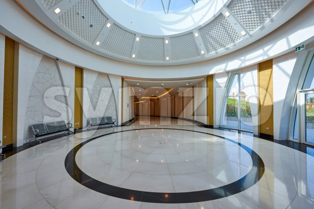Empty metro hall near Jumeirah Mosque at daylight. Dubai, United Arab Emirates Stock Photo