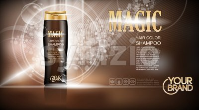 Digital vector brown magic shampoo mockup on light background, with your brand, ready for design. Liquid and bubbles, realistic style Stock Vector