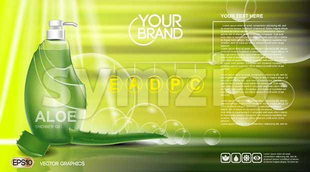 Digital vector green shower gel cosmetic Stock Vector