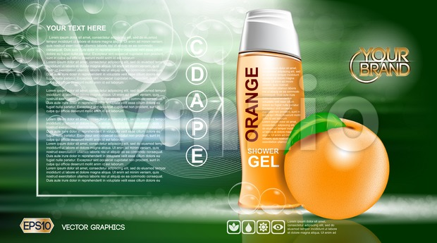 Digital vector orange and green shower gel Stock Vector
