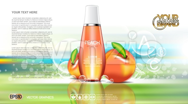 Digital vector red and orange shower gel Stock Vector