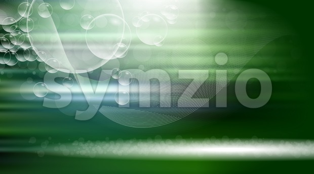 Digital vector green abstract empty background with light waves. White bubbles and lines. Ready for product placement and infographic, ads, ...