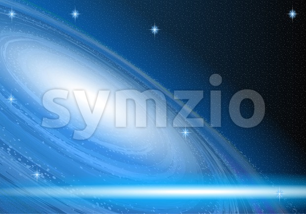 Digital vector blue space cosmic abstract empty background Stock Vector