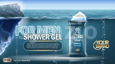 Digital vector blue shower gel for men mockup Stock Vector