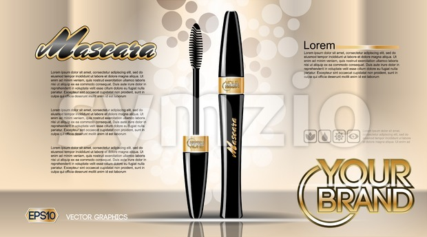 Digital vector black mascara mockup Stock Vector