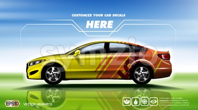 Digital vector yellow and red sedan sport car Stock Vector