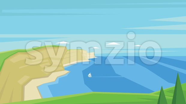 Digital vector abstract background with sea shores Stock Vector