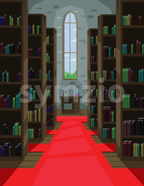 Digital vector abstract background with a library interior with book shelves and red carpet, lamp, table, window, flat triangle style