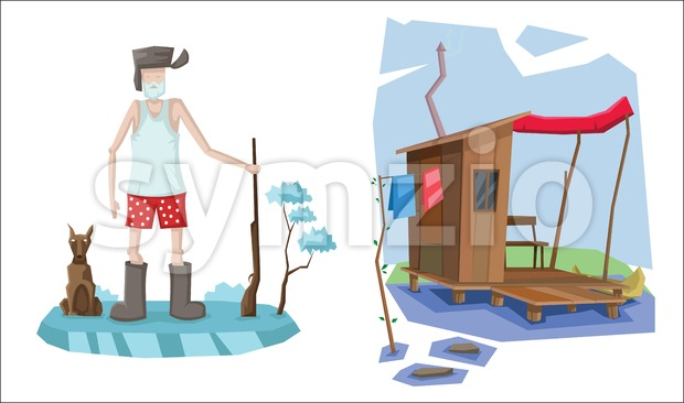 Digital vector abstract background set with russian hunter with rifle and dog, no pants, t-shirt and boots, wooden house on ...