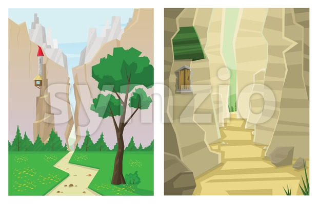 Digital vector abstract background set with a canyon and house in mountains and green forest, path way, flat triangle style