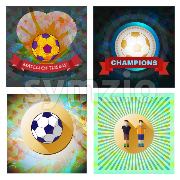 Digital vector image. Abstract football and soccer infographic set, match of the day text, a playing ball and heart. Flat ...