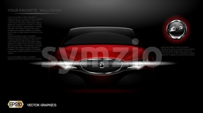 Digital vector red modern sport car mockup, ready for print or magazine design. Your brand, white lights on. Black background. Transparent, realistic Stock Vector