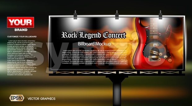 Digital vector rock legend concert close up mockup lightbox advert at night, ready for print or magazine design. Your brand, show and festival. Dark Stock Vector