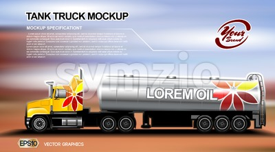 Digital vector orange new modern tank truck close up mockup, ready for print or magazine design. Your brand, oil transport. Brown and blue background. Stock Vector
