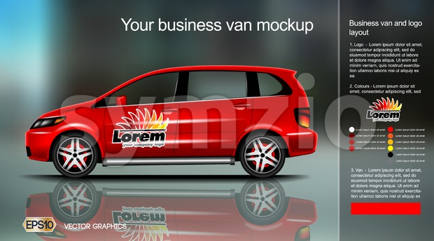 Digital vector red new modern business vehicle van close up mockup, ready for print or magazine design. Your brand, motor show and exhibition. Black Stock Vector