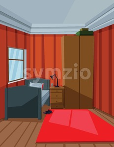 Digital vector abstract background with a small house interior with a bed by the window, lamp, carpet and furniture, flat style Stock Vector