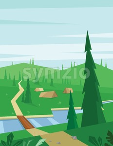 Digital vector abstract background with a bridge and river, tents and green heels with pine forest, blue sky and clouds, flat triangle style Stock Vector