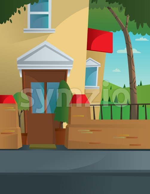 Digital vector abstract background with a street and road between houses, urban, fence, flat triangle style Stock Vector
